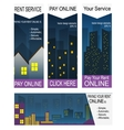 Paying rent on-line banners vector image