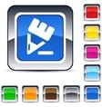 pencil square button vector image vector image