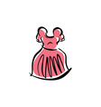 pink dress isolated hand drawn clothing vector image
