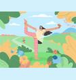 pretty young woman doing yoga asana outdoors vector image