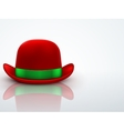 Red bowler hat on a light background vector image
