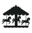 rotating horses merry-go-round carousel black icon vector image