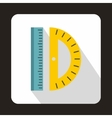 Ruler and protractor icon flat style vector image vector image