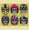 set hand drawing skulls wearing various of vector image vector image