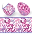 set isolated easter eggs and seamless geometric vector image