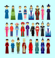 set people in traditional asian clothing male vector image vector image