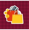 shopping bag money vector image vector image