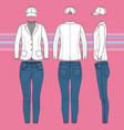 simple outline drawing a blazer jeans and cap vector image