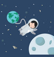 small girl astronaut floating in space background vector image vector image