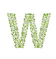 Spring green leaves eco letter W vector image vector image