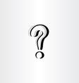 stylized question mark icon logo black symbol vector image vector image