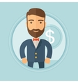 Successful businessman with dollar coin vector image vector image