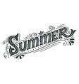 Summer Hand drawn vintage lettering with floral vector image