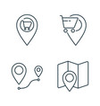 supermarket location and route line icons set on vector image