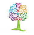 swirly multicolored tree style icon vector image vector image