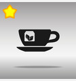 tea cup black icon button logo symbol vector image vector image