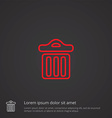 trash bin outline symbol red on dark background vector image