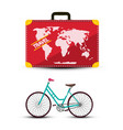 travel suitcase with bicycle isolated on white vector image