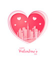 valentines card paper cut heart and san francisco vector image vector image