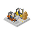 warehouse forklifts in loading isometric 3d icon vector image vector image