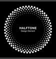 White halftone circle frame dots logo emblem vector image