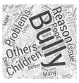 Why Do Children Bully Word Cloud Concept vector image vector image