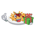 with gift pasta in a mascot shape vector image vector image