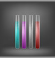 chemical test tube set with colored liquids vector image