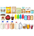 A group of foods and drinks vector image vector image