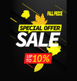 autumn sale special offer up to 10 discount banner vector image vector image