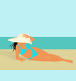 beautiful girl in bikini and hat on a beach vector image vector image