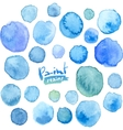 big set blue watercolor stains vector image