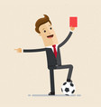 businessman with football and red card in hand vector image vector image