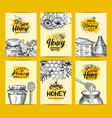 card templates set for honey shop or farm vector image vector image