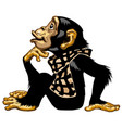 cartoon chimp wearing a scarf vector image vector image