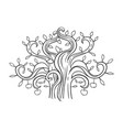 cartoon doodle apple tree isolated on white vector image