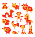 chinese horoscope horoscopy animal symbol vector image vector image