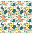 cute cat seamless pattern background vector image vector image