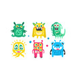 cute colorful monsters with open mouth set vector image