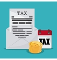 Document calendar and coins icon Tax and vector image vector image