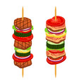 doner kebab shashlik in cartoon flat style vector image vector image