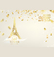 eiffel tower icon with golden confetti falls vector image vector image
