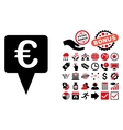 Euro Map Pointer Flat Icon with Bonus vector image vector image
