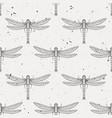 grunge seamless pattern with dragonflies vector image vector image