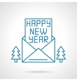 Happy New Year greetings thin line icon vector image vector image