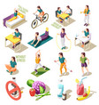 healthy life style isometric icons vector image