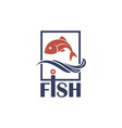 icon with fish vector image