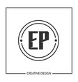 initial letter ep logo template design vector image vector image