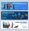international police service flat banners set vector image vector image