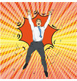 joyful retro man with pop art vector image vector image